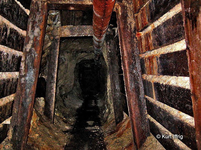 The pipe along the ceiling of Las Flores Canyon's Golden Star Mine was used to ventilate the back of the mine.