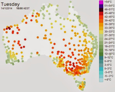 Map of Australian heatwaves