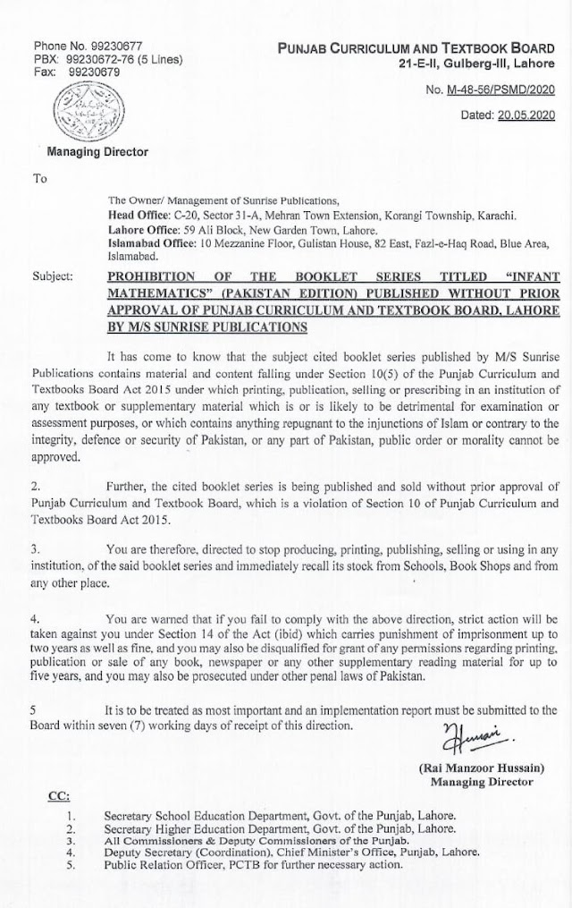 PROHIBITION OF PUBLISHMENT OF THE BOOKLET SERIES TITLED INFANT MATHEMATICS