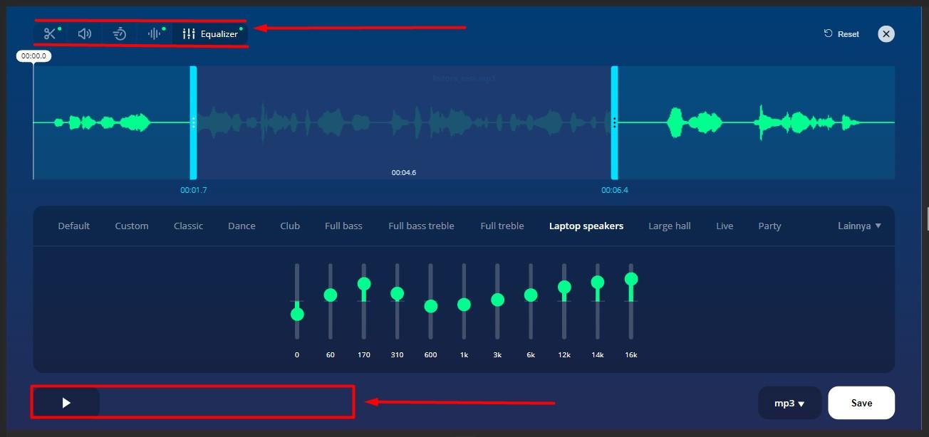 pengaturan fitur-fitur di MP3Cut