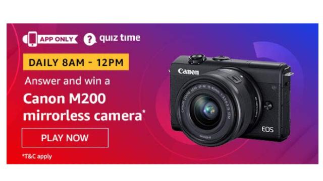 Amazon Quiz Answers Today 14 January win - Canon M200 mirrorless camera