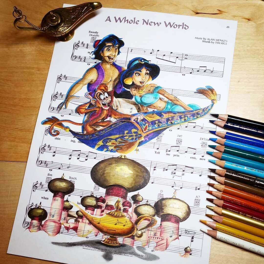 06-Alladin-Princess-Jasmine-U-Doughty-Movie-Character-Drawings-on-Music-Sheets-www-designstack-co