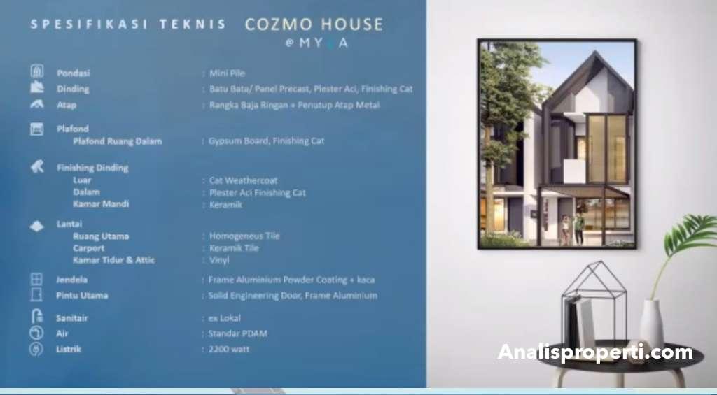 Spesifikasi Bangunan Rumah CozmoHouse Myza BSD City