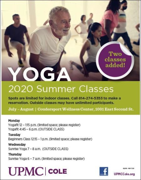 UPMC Cole Adds 2 Summer Yoga Classes