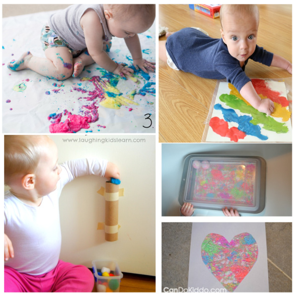What can baby do? TONS!  Here are 50+ fun activities perfect for babies & toddlers- sensory play, taste safe recipes, and more! #babyplay #babyactivities #sensoryactivitiesforbabies #sensoryactivities #tastesafesensory #babysensoryplay #sensoryplayforbabies #kidsactivities #growingajeweledrose