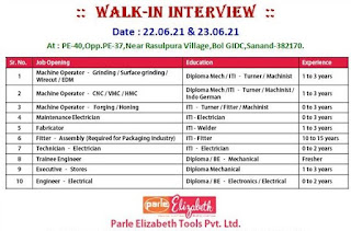 Parle Elizabeth Tools Pvt. Ltd  Requirements ITI, Diploma and BE Candidates For Various Positions | Walk In Interview