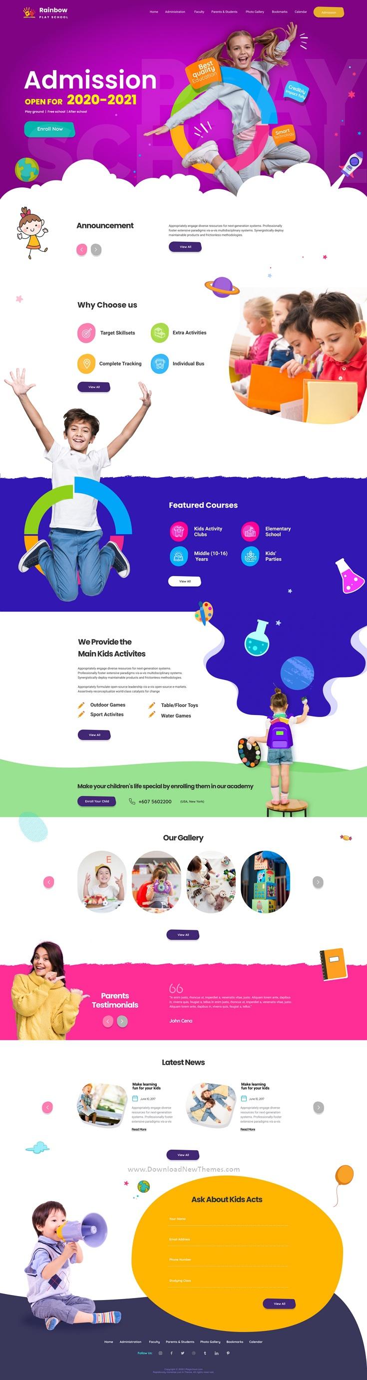 Kids Play School Website Figma Template
