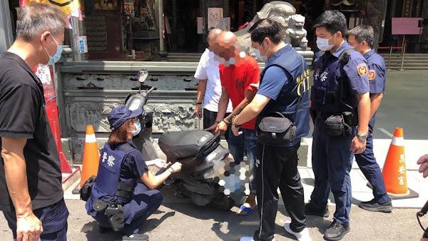 北斗鎮奠安宮廟前驚傳搶劫 搶匪摔車遭警逮捕送法辦