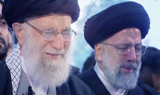 علي خامنئي يبكي بحرقة في جنازة قاسم سليماني (فيديو)