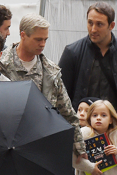 The children of brad pitt visited the set of his new film