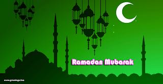 """RAMADAN MUBARAK"" greetings in English Language.green back ground,mosque,moon,stars,ramadan lanterns"