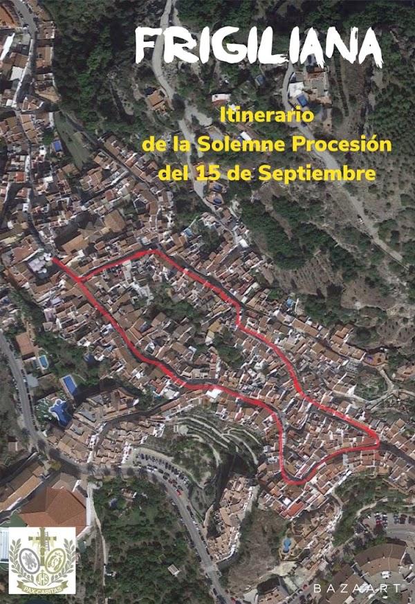 Horario e Itinerario Ntra Sra Maria Stma de los Dolores de Frigiliana. 15 de Septiembre del 2019