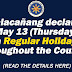 Malacañang declares May 13 (Thursday) a Regular Holiday Throughout the Country