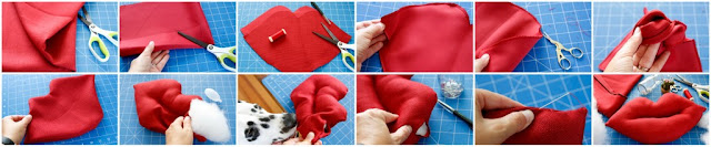 Step-by-step making a stuffed toy shaped like giant red lips