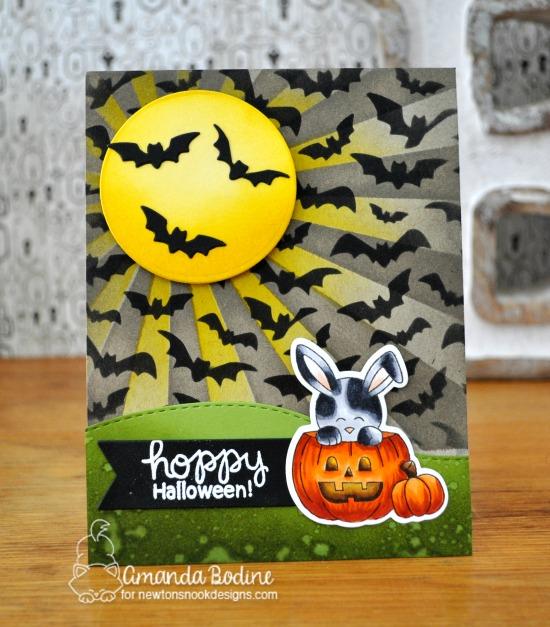 Bunny Halloween Card by Amanda Bodine | Hoppy Halloween Stamp Set, Flying Bats Stencil, and Sunscape Stencil by Newton's Nook Designs #newtonsnook #handmade #halloween