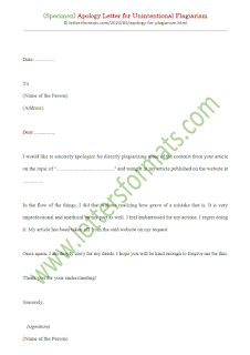 apology letter for plagiarism sample