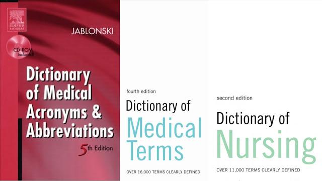 Medical and nursing dictionaries pdf  format  download [English-English]