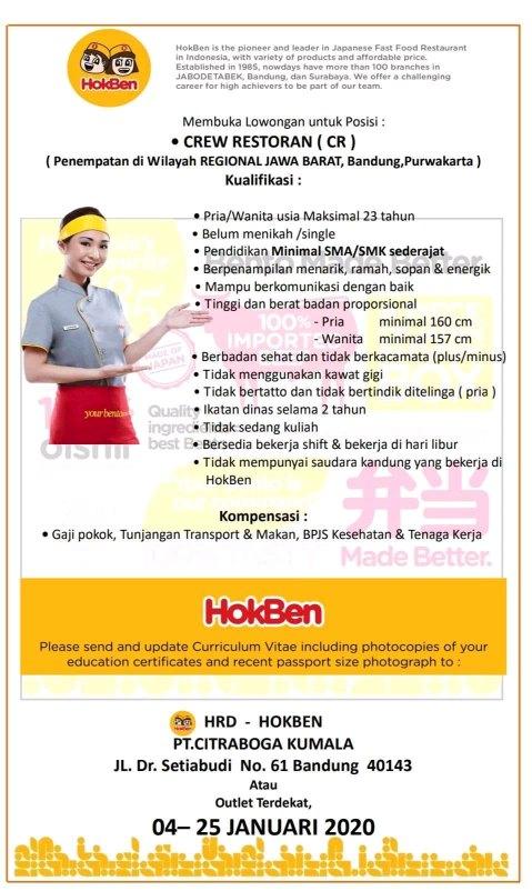 Lowongan Kerja Hokben Bandung Terupdate 2020 Lowongankerjacareer Com
