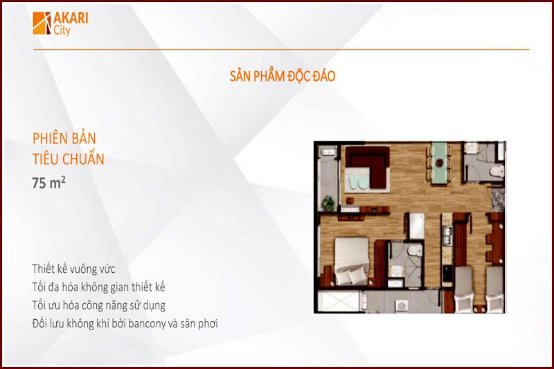 Thiểt kế căn hộ 75m2 Akari City