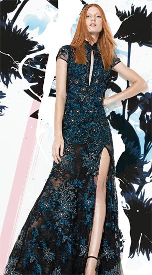 vestido de festa longo de renda com aplicações bordados e renda Patricia Bonaldi verão 2016