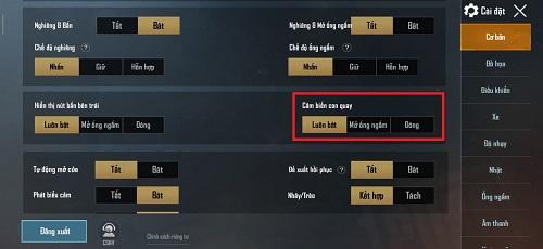 Người chơi mang thể bật nhỏ quay hồi chuyển đổi trong phần thiết lập căn bản