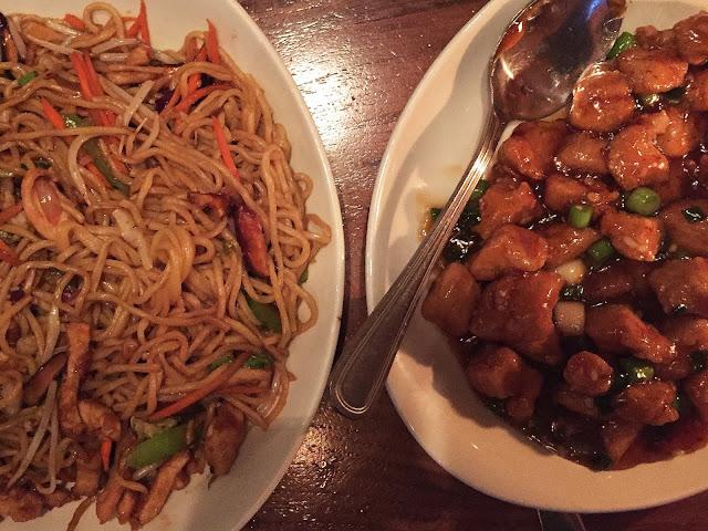 P.F. Chang's chicken lo-mein spicy chicken