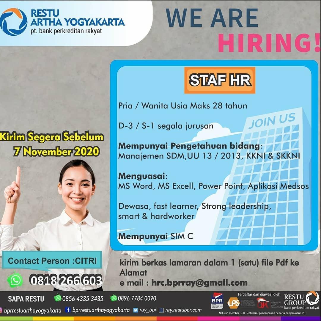 Lowongan Kerja Staff HR di Bank Perkreditan Rakyat Restu Artha Yogyakarta