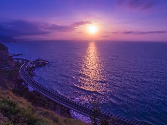 Body of Water Across Sunset HD Copyright Free Image