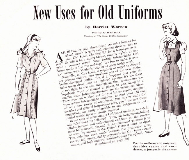 1940s make and mens girl scout sewing tips