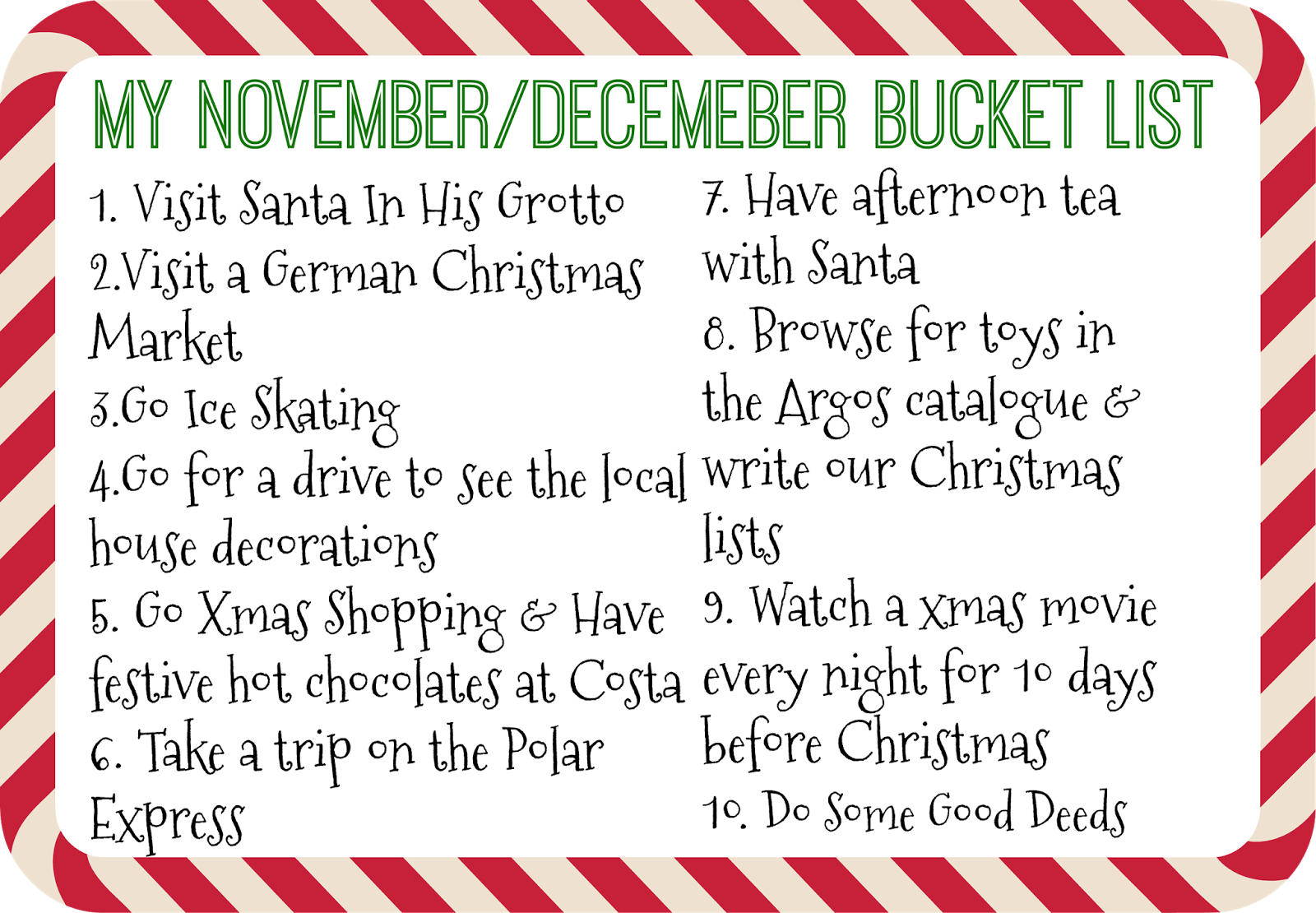 with the christmas season in mind i have put together a november december bucket list of things i want to do this season id love to hear some of your