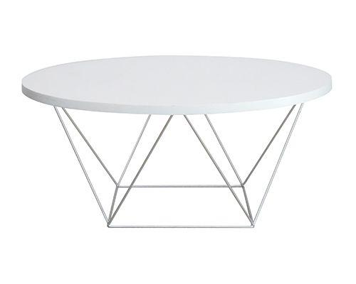 Mặt bàn tròn chân sắt tĩnh điện gỗ mdf phủ melamine màu trắng 100 SH