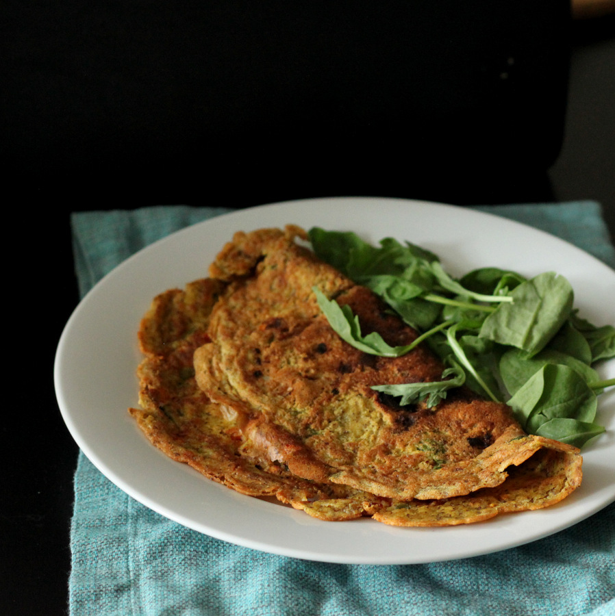 Chickpea flour Omelette with spinach, onion, tomato and ...