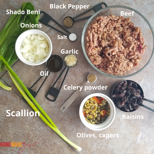 Ingredients needed to make the meat for the filling