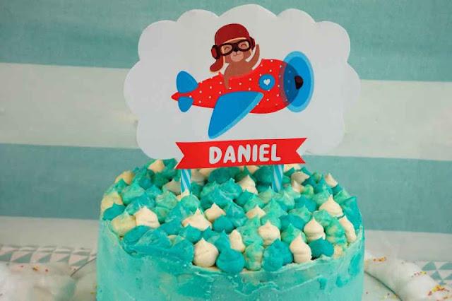 topper aviador para tarta de cumpleaños