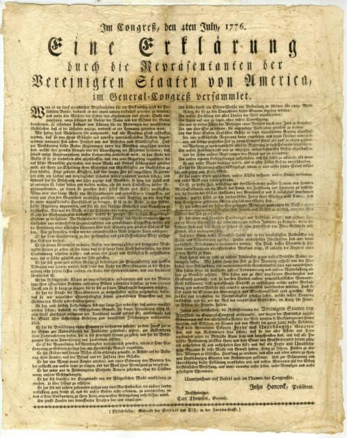 Declaración de Independencia de Estados Unidos en alemán - 4 de julio de 1776