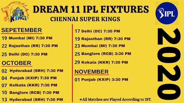Chennai Super Kings Dream11 IPL 2020 Fixtures