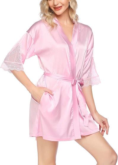 Short Pink Satin Robes For Women