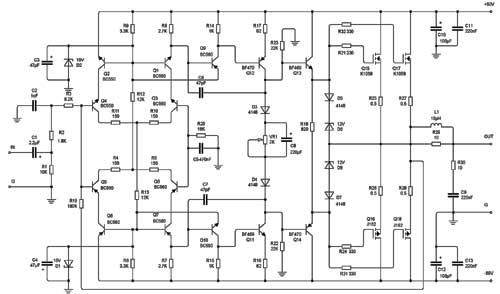 200W K1058 J162 MOSFET Class A Audio Amplifier Circuit