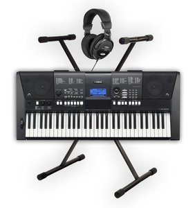 yamaha psr e423 keyboard set with stand and headphones. Black Bedroom Furniture Sets. Home Design Ideas
