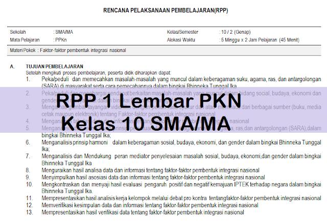 RPP 1 Lembar PKN Kelas 10 SMA/MA
