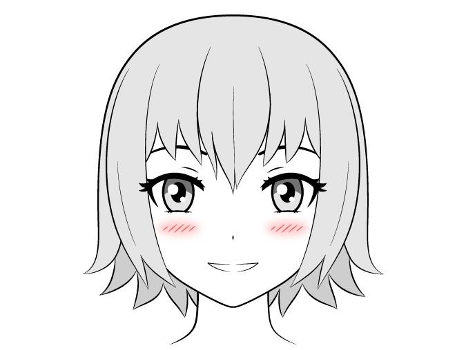 Gadis anime dengan kombinasi blush on kecil