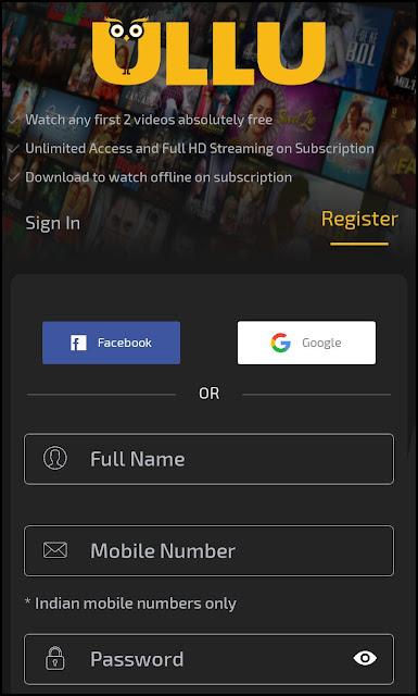 Ullu App Subscription - Ullu Sing Up