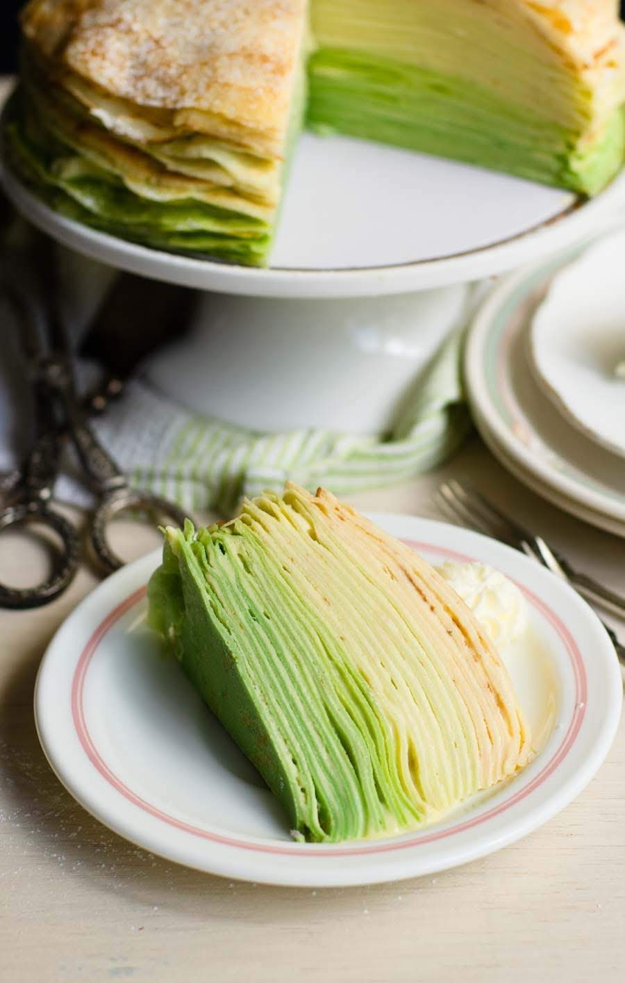 A slice of Green ombre durian crepe cake
