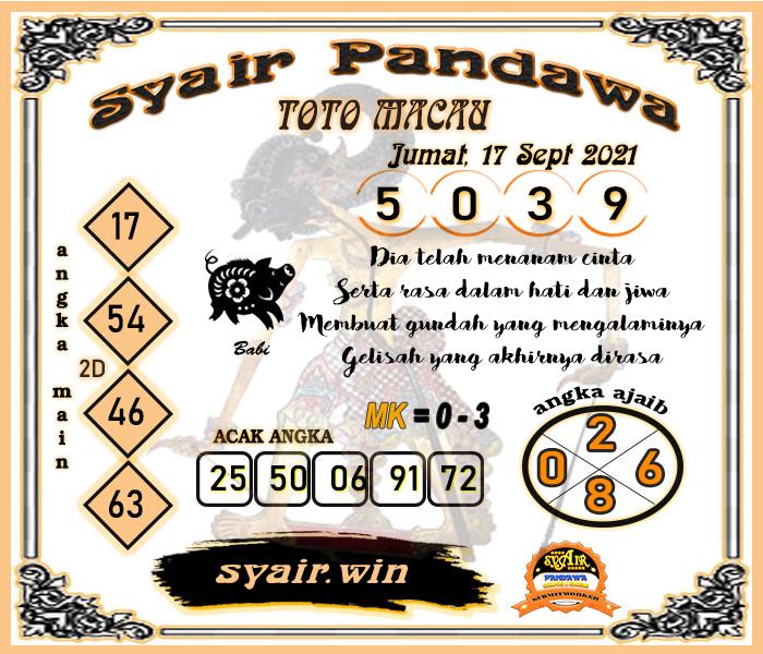Syair Pandawa Toto Macau Jumat 17 September 2021