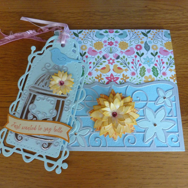 tonic studios tag and card with pocket made using issue 5 papers and floral dies handmade die cutting crafts paper