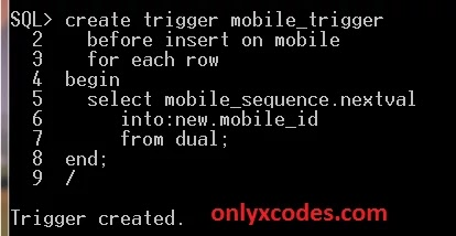 create trigger in oracle SQL command line