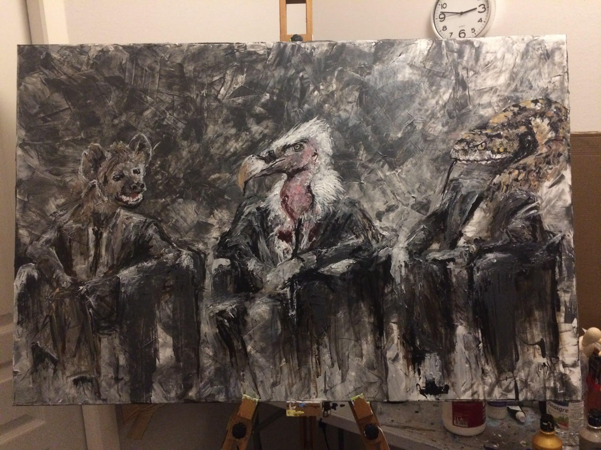 Karine Babel a peint des animaux habillés représentant des personnages politiques : hyène, vautour, serpent.