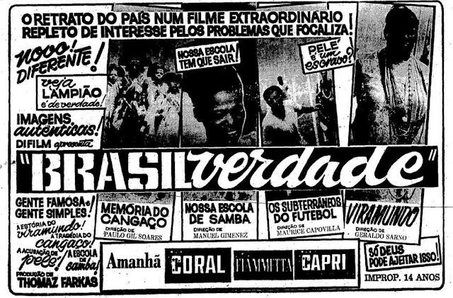 Documentário 'Brasil Verdade' apresentado em 1968: clássico da produção brasileira.