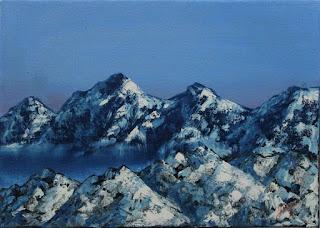 Montaña con nieve Jorge Marín pintor colombiano,  artistas realistas de colombia