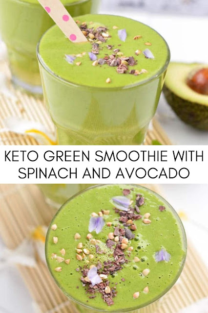 KETO GREEN SMOOTHIE WITH SPINACH AND AVOCADO